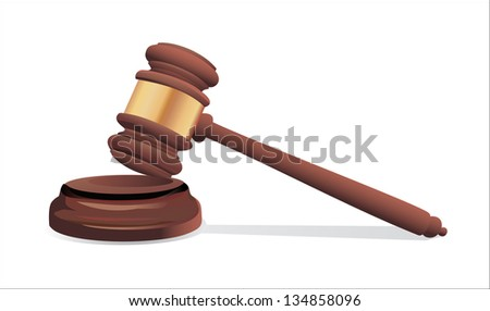 A wooden judge gavel and soundboard isolated on white background - stock vector
