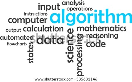 A word cloud of algorithm related items - stock vector