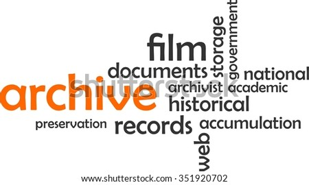 A word cloud of archive related items - stock vector