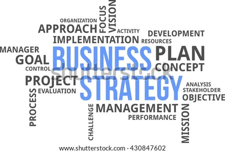 A word cloud of business strategy related items - stock vector