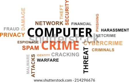 A word cloud of computer crime related items - stock vector