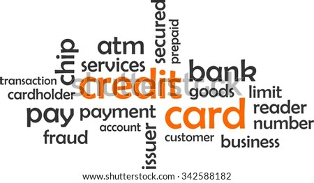 A word cloud of credit card related items - stock vector