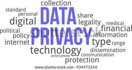 A word cloud of data privacy related items - stock vector