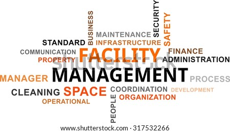 A word cloud of facility management related items - stock vector