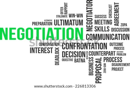A word cloud of negotiation related items - stock vector
