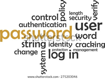 A word cloud of password related items - stock vector