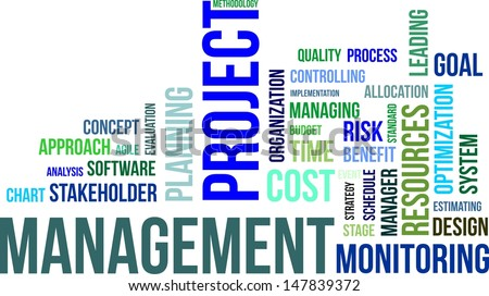 A word cloud of project management related items - stock vector