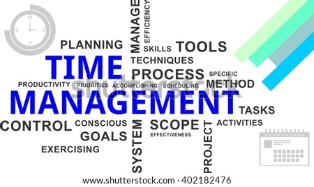 A word cloud of time management related items - stock vector