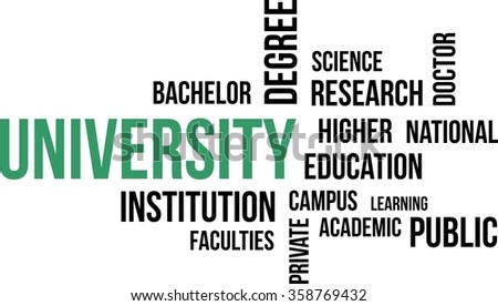 A word cloud of university related items - stock vector