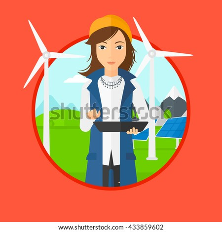 A worker of solar power plant and wind farm. Worker with tablet computer on a background of solar power plant and wind turbines. Vector flat design illustration in the circle isolated on background. - stock vector