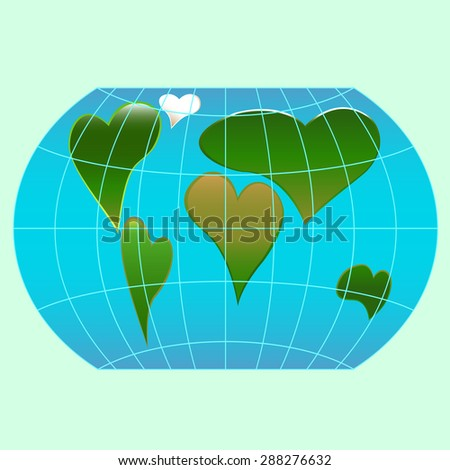 A world globe with continents in the shape of a heart symbols - stock vector