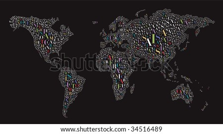 World map made by letters stock vector 34516489 shutterstock a world map made by letters gumiabroncs Images