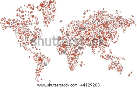 A world map made of technology items - stock vector