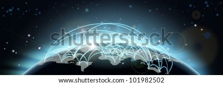 A world map network background with flight paths or trade routes or communication between countries and cities - stock vector