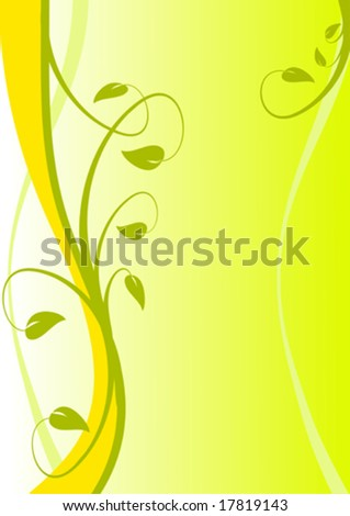 A Yellow abstract floral vector design with room for text - stock vector