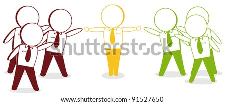 a yellow businessman to mediate when the two sides bickered - stock vector