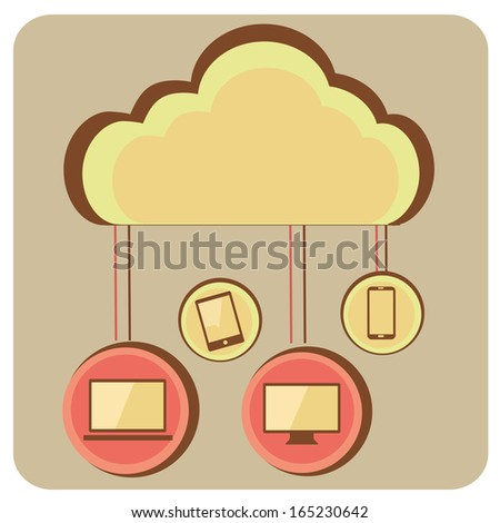 a yellow cloud with relations to different devices