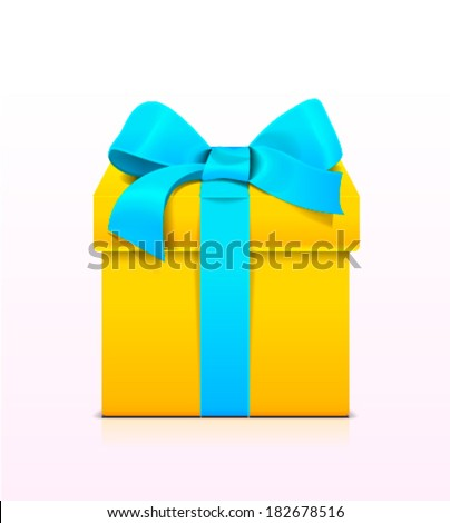 A yellow gift with a blue ribbon and a bow - stock vector