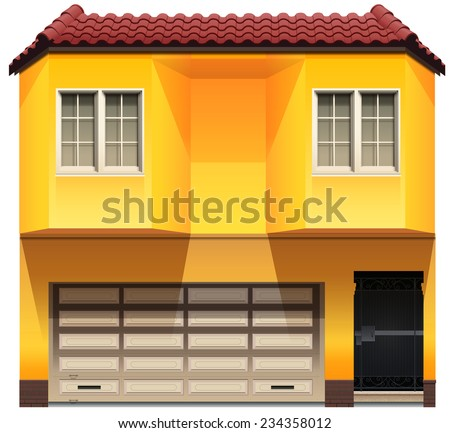 A yellow house on a white background