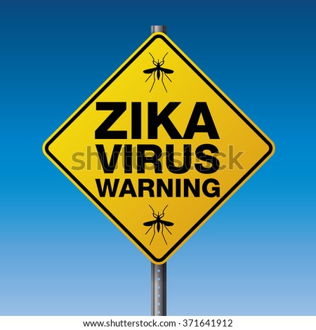 A yellow street warning sign for the Zika Virus. Vector EPS 10 available.