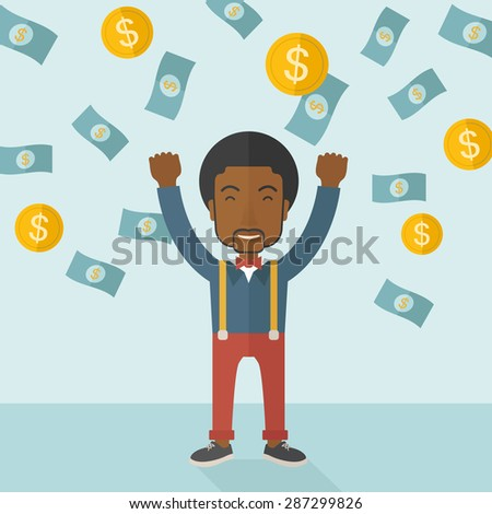A young and cheerful african gentleman standing under falling raining money shower a coin and bill dollar money. Winner, happy concept. A contemporary style with pastel palette soft blue tinted
