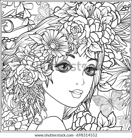 young beautiful girl wreath flowers on stock vector