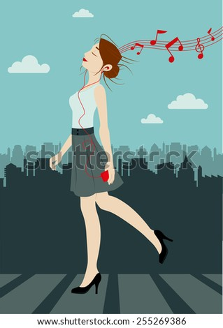 A young beautiful woman is walking on the street listening to music on her smartphone. On the background we see a city landscape. - stock vector