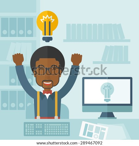 A young black guy is happy raising his two hands getting an idea through computer internet inside his office. Successful concept. A Contemporary style with pastel palette, soft blue tinted background - stock vector