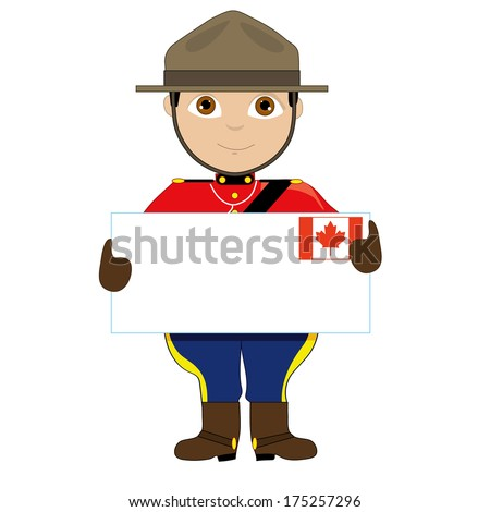 A young boy or man is dressed in a Canadian Mountie uniform and is holding a sign with a Canadian flag on it that looks like a giant letter. There is room for text - stock vector