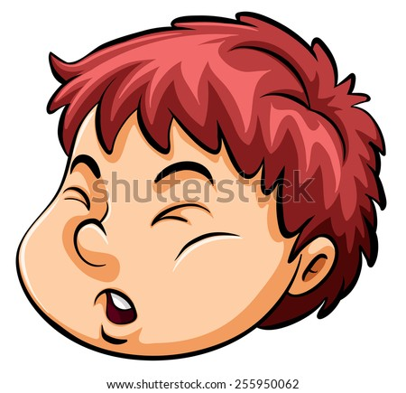 A young boy's face on a white background - stock vector