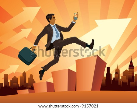A young businessman in a hurry, vector - stock vector