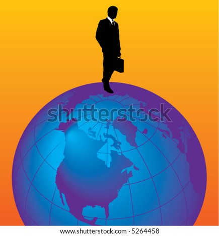 A young businessman stands on top of the world - stock vector