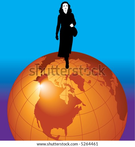 A young businesswoman stands on top of the world - stock vector