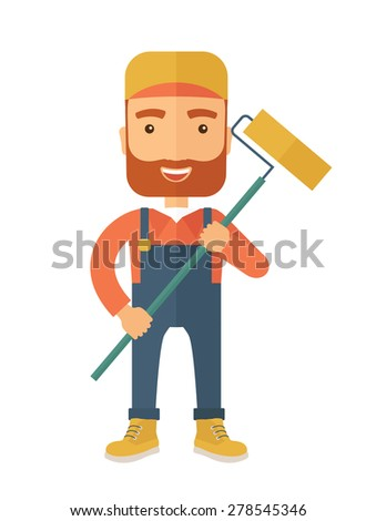 A young Caucasian glass cleaner wearing hat holding stick rubber scraper. A Contemporary style. Vector flat design illustration isolated white background. Vertical layout. - stock vector