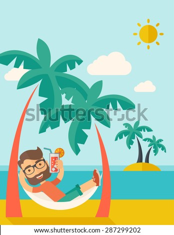 A young caucasian on the beach relaxing and drinking cocktail under the heat of the sun with two coconut tree. A contemporary style with pastel palette blue tinted background with desaturated clouds - stock vector