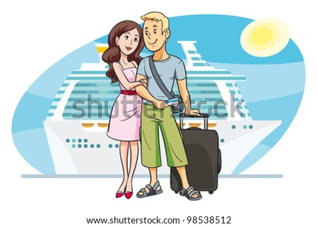a young couple going on vacation by cruise boat. Vector. People are grouped and can easily be moved and scaled against the background. - stock vector