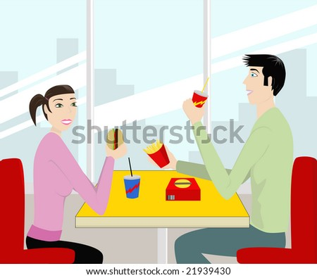 a young couple on restaurant eating fast food - stock vector