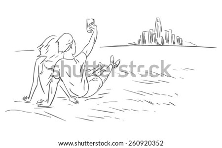 A young couple sitting outside the city and making selfie. EPS10 vector illustration - stock vector
