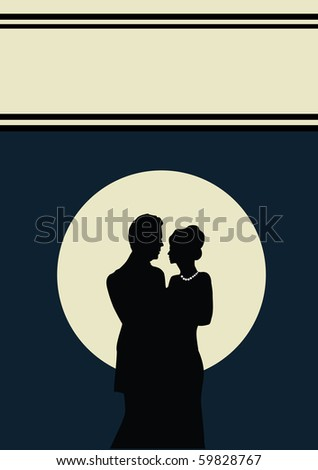 a young couple with a  blue background - stock vector