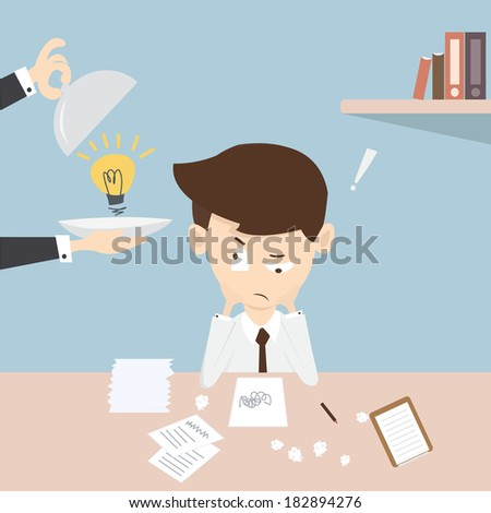 A young desperate businessman in desk - stock vector