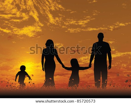 A young family outdoors enjoying the sunset - stock vector