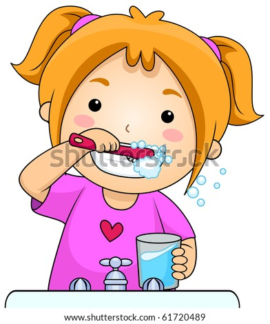 young girl brushing her teeth vector stock vector 61720489 rh shutterstock com clipart child brushing teeth brush teeth clipart