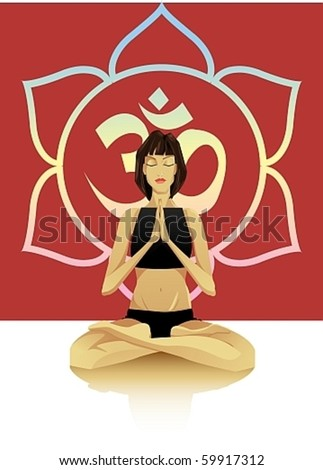 A young girl sitting in the lotus position - stock vector
