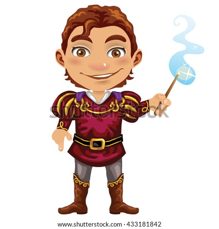 A young guy with a magic wand. Vector illustration. - stock vector
