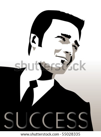 A young, handsome, successful businessman in a suit - stock vector
