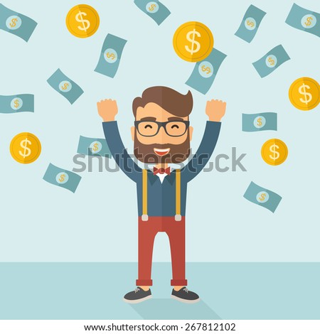 A young hipster Caucasian businessman happy under falling raining money shower  - stock vector