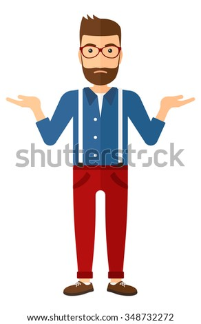 A young hipster man with the beard gesturing with open arms vector flat design illustration isolated on white background. Vertical layout. - stock vector