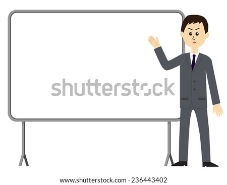 A young male employee giving a presentation in front of a whiteboard, vector illustration - stock vector