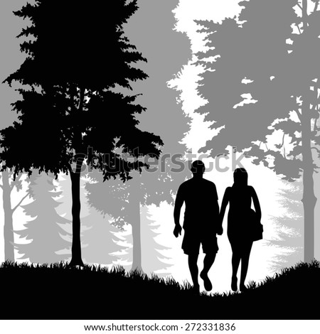 A young man and woman walking in the forest. Vector illustration - stock vector