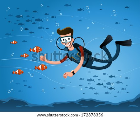 a young man getting a pose with clown fish while diving in the deep sea - stock vector